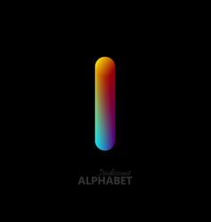 3d iridescent gradient letter i vector