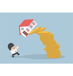 Businessman and falling house and coins vector