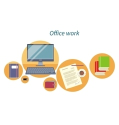 Office work concept flat design icon vector