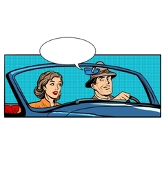 Couple man and woman in convertible car vector