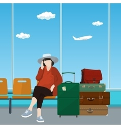 Airport Waiting Room with Woman vector image vector image