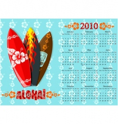 aloha calendar with surf boards vector image