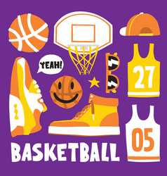 Basketball hand drawn cartoon objects vector
