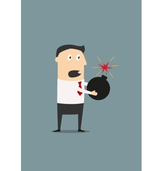 Businessman holding a lighted bomb vector image vector image
