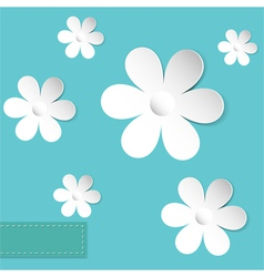 camomiles blue background vector image vector image