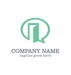 Chat open door logo design vector