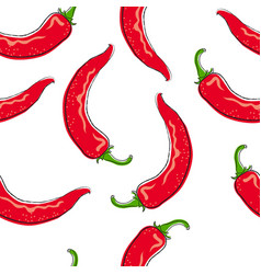 chili pepper seamless pattern vector image
