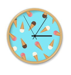 clock with ice cream pattern vector image vector image
