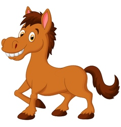 Cute cartoon brown horse vector image vector image