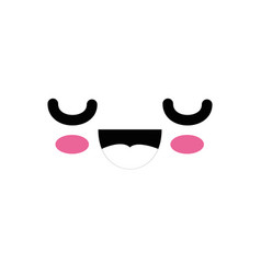cute kawaii cartoon face vector image