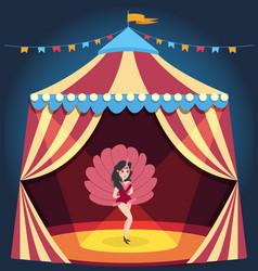 Dancing girl on circus arena entertaining show vector
