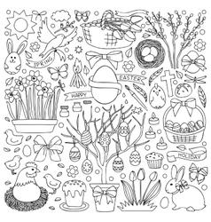 Easter doodle set vector image vector image
