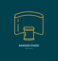 Exhibition banner stand flat line icon vector