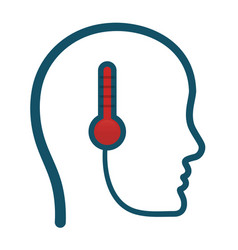 Head think temperature thermometer vector