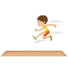 Man athlete doing long jump vector