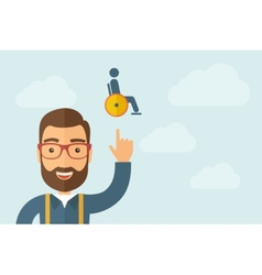 Man pointing the man in a wheelchair icon vector image