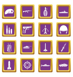 military icons set purple vector image