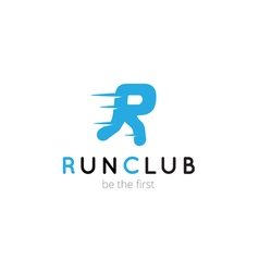 R letter creative running club logo abstract sport vector image