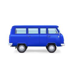 Retro travel van on white background vector