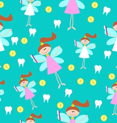 Seamless pattern with little cute tooth fairy with vector