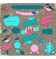 Set of Christmas elements in pink and blue vector image