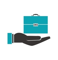shelter hand with business briefcase icon vector image