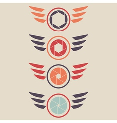 shutter logo set wings vector image vector image