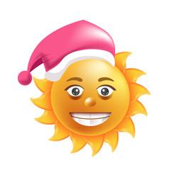 sun smile santa hat cartoon emoticon summer vector image