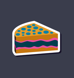 Sweet dessert in paper sticker cake vector