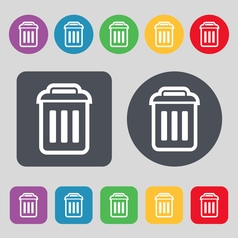 trash icon sign A set of 12 colored buttons Flat vector image