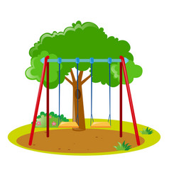 two swings in the park vector image vector image