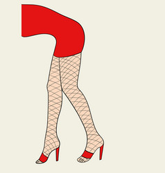 woman legs with fishnet stocking vector image vector image