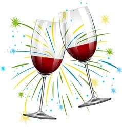 Two glasses with red wine vector