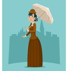 Wealthy Cartoon Victorian Lady Businesswoman vector image