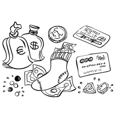 Hand drawn money art vector