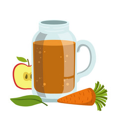 Apple and carrot smoothie non-alcoholic fresh vector