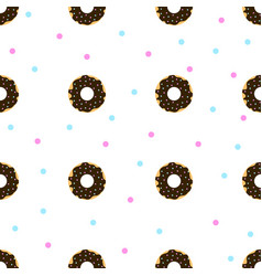 Chocolate donuts with blue and pink sprinkles vector