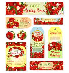 Spring time flowers greeting cards and tags vector