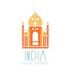 India yoga studio logo symbol health and beauty vector