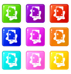 Wet phone icons 9 set vector