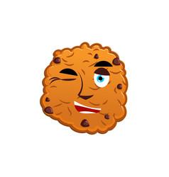 Cookies winking emoji biscuit emotion happy food vector
