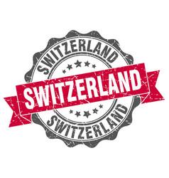 Switzerland round ribbon seal vector