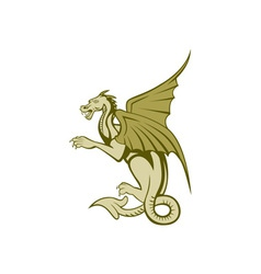 Green dragon full body cartoon vector