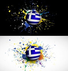 Greece flag with soccer ball dash on colorful vector