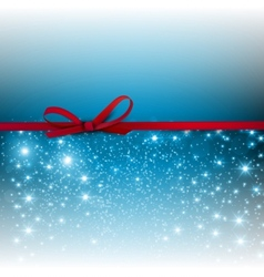 Gorgeous blue background with red bow and copy vector image