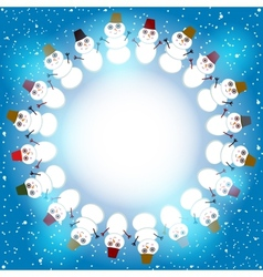 Set of cute cartoon snowmen round frame for text vector