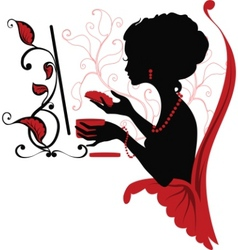 Doodle graphic silhouette of a woman vector