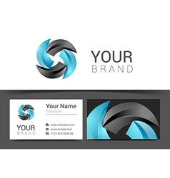Turquoise business card with sticker office vector