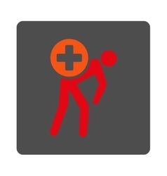 Medication courier flat button vector