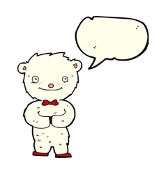 Cartoon little polar bear with speech bubble vector